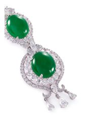LC COLLECTION - Green Diamond Jade 18k White Gold Pendant - Lyst