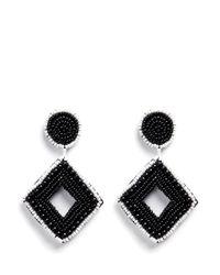 Kenneth Jay Lane | Black Beaded Rhombus Drop Earrings | Lyst