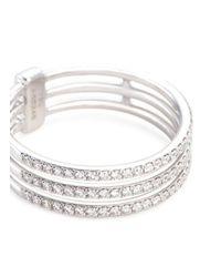 Messika - Metallic 'gatsby 3 Rows' Diamond 18k White Gold Ring - Lyst