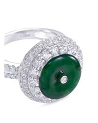 LC COLLECTION - Metallic Diamond Jade 18k White Gold Disc Ring And Earrings Set - Lyst