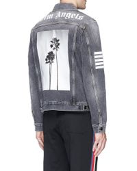 Palm Angels - Black Palm Tree Print Washed Denim Jacket for Men - Lyst