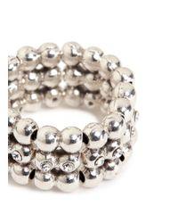 Philippe Audibert - Metallic 'meryl' Swarovski Crystal Bead Elastic Ring - Lyst