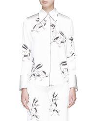 Helen Lee - White Bunny Print Silk Satin Top - Lyst