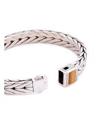 John Hardy - Metallic Tiger's Eye Stone Silver Weave Effect Link Chain Bracelet for Men - Lyst