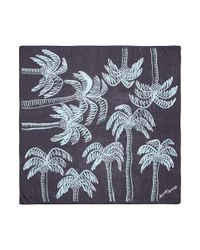 Anna Coroneo - Blue 'palm Tree In Bella' Print Silk Scarf - Lyst