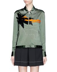 Rag & Bone - Green 'roth' Vacation Motif Embroidered Satin Collared Jacket - Lyst