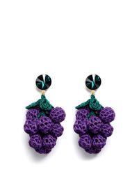 Venessa Arizaga   Purple 'have A Grape Day' Rhinestone Crochet Drop Earrings   Lyst