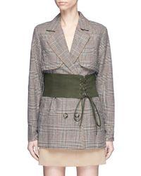 Self-Portrait - Multicolor Split Sleeve Corset Belt Cropped Check Plaid Trench Coat - Lyst