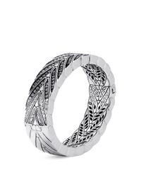 John Hardy - Metallic Diamond Sapphire Silver Weave Effect Bangle - Lyst
