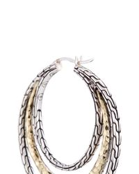 John Hardy - Metallic 18k Yellow Gold Silver Hammered Chain Effect Concentric Hoop Earrings - Lyst