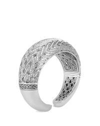 John Hardy - Metallic Diamond Silver Chain Effect Cuff - Lyst