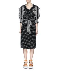 Stella McCartney | Black Puff Sleeve Polka Dot And Stripe Silk Georgette Dress | Lyst
