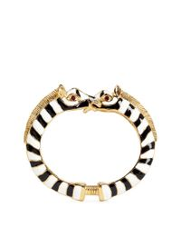 Kenneth Jay Lane - Metallic Enamel Double Zebra Gold Plated Cuff - Lyst