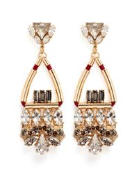 Anton Heunis | Metallic Swarovski Crystal Glass Stone Leather Cord Chandelier Earrings | Lyst