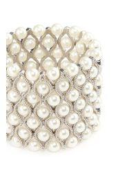 Kenneth Jay Lane - White Glass Pearl Wavy Elastic Bracelet - Lyst