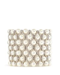 Kenneth Jay Lane | White Glass Pearl Wavy Elastic Bracelet | Lyst