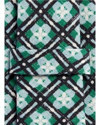Isaia - Green Floral Print Silk-cotton Seven Fold Tie for Men - Lyst