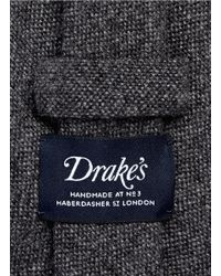 Drake's - Gray Cashmere Tie for Men - Lyst