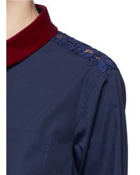 Sacai - Blue Guipure Lace Back Velvet Collar Shirt - Lyst