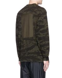 T By Alexander Wang Green Camouflage Print Long Sleeve T-shirt for men
