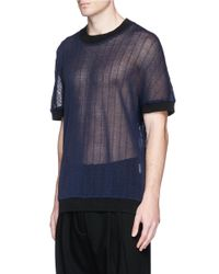 Ffixxed Studios | Blue Open Stripe Knit Short Sleeve Sweater for Men | Lyst