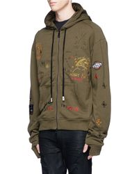 Haculla - Green 'luxe Punk' Doodle Embroidered Zip Hoodie for Men - Lyst