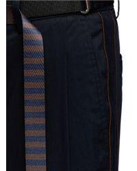 Wooyoungmi | Blue Stripe Webbing Belt Piped Seam Taffeta Pants for Men | Lyst