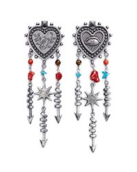 Valentino | Metallic 'santeria' Heart Arrow Drop Earrings | Lyst