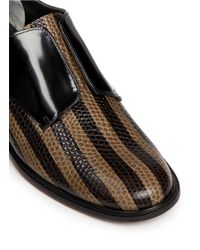 Robert Clergerie - Multicolor 'jaml' Stripe Croc Effect Leather Laceless Derbies - Lyst