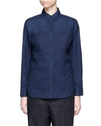 Vince | Blue Rinse Wash Cotton Denim Shirt | Lyst