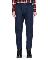 DSquared² | Blue Shirred Waist Cotton Twill Pants for Men | Lyst