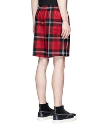 Alexander Wang - Red Check Plaid Wool Flannel Shorts for Men - Lyst