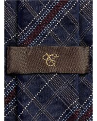 Canali - Blue Check Silk Tie for Men - Lyst