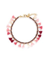 Shashi | Pink 'jaime' Tassel Beaded Bracelet | Lyst
