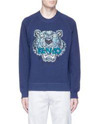 KENZO | Blue Snake Tiger Appliqué Sweatshirt for Men | Lyst
