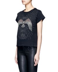 Valentino - Black Embellished Eagle Terry Raw Edge Sweatshirt - Lyst