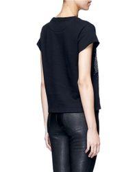 Valentino - Black Embellished Eagle Terry Raw Edge Sweatshirt - Lyst