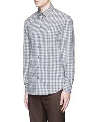Armani - Gray Gingham Check Cotton Shirt for Men - Lyst