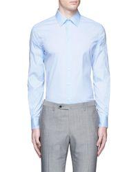 Armani - Blue Slim Fit Stretch Poplin Shirt for Men - Lyst