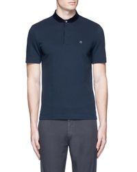 Armani - Blue Velvet Collar Slim Fit Polo Shirt for Men - Lyst