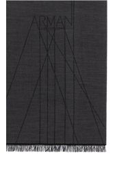 Armani - Black Logo Wool Scarf for Men - Lyst