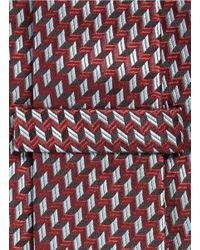 Armani - Red Arrowhead Jacquard Tie for Men - Lyst