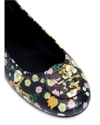 Tory Burch Multicolor 'minnie Travel' Floral Print Leather Ballet Flats