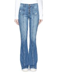 Current/Elliott | Blue 'the Judy Flare' High Waist Distressed Denim Pants | Lyst