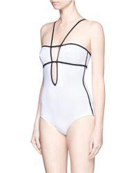 Araks - White 'harlow' Keyhole Back Grid Plunge Swimsuit - Lyst