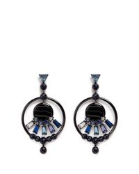 Eddie Borgo - Black 'europa' Agate Cubic Zirconia Hoop Earrings - Lyst