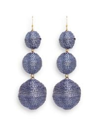 Kenneth Jay Lane | Blue Graduating Threaded Sphere Drop Earrings | Lyst