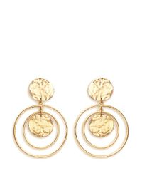 Kenneth Jay Lane | Metallic Coin Charm Hoop Gold Plated Drop Earrings | Lyst