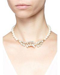Kenneth Jay Lane   Metallic Glass Crystal Leaf Pearl Choker Necklace   Lyst