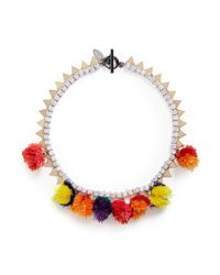 Venna | Multicolor Pompom Glass Crystal Chain Necklace | Lyst